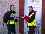 Two SNP campaigners at a house door duringDr Philippa Whitford's Central Ayrshire campaign in Irvine, Saturday 21st February 2015