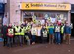 Large group of SNP campaigners outside SNP Shop during Dr Philippa Whitford's Central Ayrshire campaign in Irvine, Saturday 21st February 2015