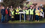 Large group of SNP campaigners at Clark Drive during Dr Philippa Whitford's Central Ayrshire campaign in Irvine, Saturday 21st February 2015
