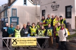 Large group of SNP campaigners during Dr Philippa Whitford's Central Ayrshire campaign in Irvine, Saturday 21st February 2015
