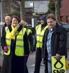 Small group of SNP campaigners with Dr Philippa Whitford's Central Ayrshire campaign in Irvine, Saturday 21st February 2015