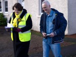 Dr Philippa Whitford with campaign colleague during Central Ayrshire campaign in Irvine, Saturday 21st February 2015