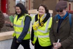 Dr Philippa Whitford with two campaign colleagues during Central Ayrshire campaign in Irvine, Saturday 21st February 2015