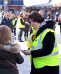Dr Philippa Whitford talking to woman during Central Ayrshire campaign in Irvine, Saturday 21st February 2015