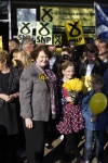 Dr Philippa Whitford SNP with junior supporters in Irvine