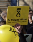 "Sign showing ""SNP Vote Dr Philippa Whitford"""