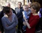 Nicola Sturgeon in Irvine holding young boy