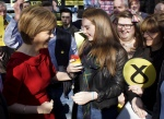 Nicola Sturgeon in Irvine talking to young supporter