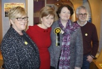 Nicola Sturgeon with parents and Dr Philippa Whitford in Irvine SNP shop