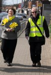 Dr Philippa Whitford walking with Hans in Prestwick
