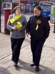 Dr Philippa Whitford walking with Chic Brodie MSP in Prestwick