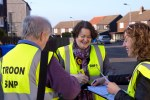 Dr Philippa Whitford and Hans, canvassing for SNP in Tarbolton