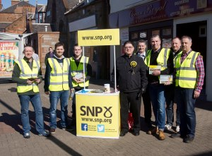 Prestwick SNP canvassing Team with Chic Brodie MSP