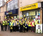 Dr Philippa Whitford SNP with larg team outside campaign hub