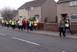 SNP Dr Philippa Whitford walking with canvassing team