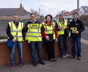 Dr Philippa Whitford SNP candidate at Prestwick Toll with some of her team.