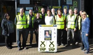 Dr PhilippaWhitford with SNP canvassing team in Irvine