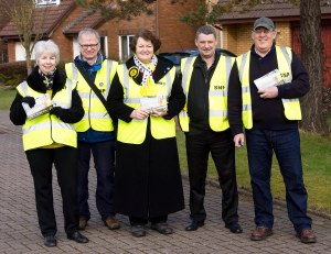 Philippa's SNP camaign team in King's Meadow, Prestwick