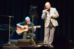 Pat Kane and Steve McCann performing on stage at Philippa Whitford's SNP fundraising event