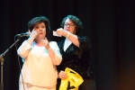 Elaine C Smith and Philippa Whitford announcing the winner of the Alex Salmond book, drawn by Elaine C Smith