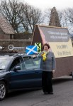 SNP Dr Philippa Whitford beside cavalcade car in Monkton