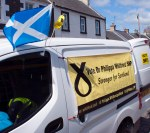 Vote Dr Philippa Whitford banner on side of cavalcade van in Dundonald