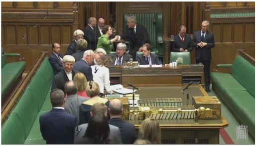 Dr Philippa Whitford MP shaking hands with and talking to the Speaker of the House of Commons following her swearing in as an MP.