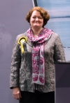 Dr Philippa Whitford MP looking happy during result declaration
