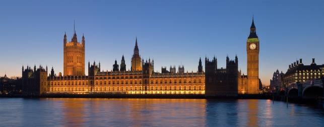 Palace of Westminster at dusk. view from south side of Thames